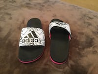 pair of black-and-white Adidas slide sandals West Linn, 97068
