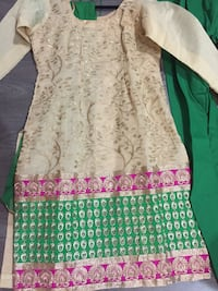 Indian suits beige one never worn brand new Pajami suit. Second one in palazzo suit worn once. Sizes 38 but can be adjusted to smaller if needed.  Surrey, V4N 0J2