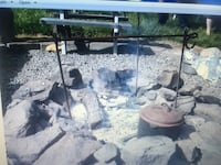 Camp Fire pit stand  for hangin coffee pot or cast iron Salem