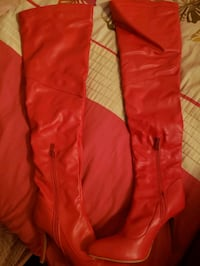 Red heels boots over knee size 9 Laconia, 03246