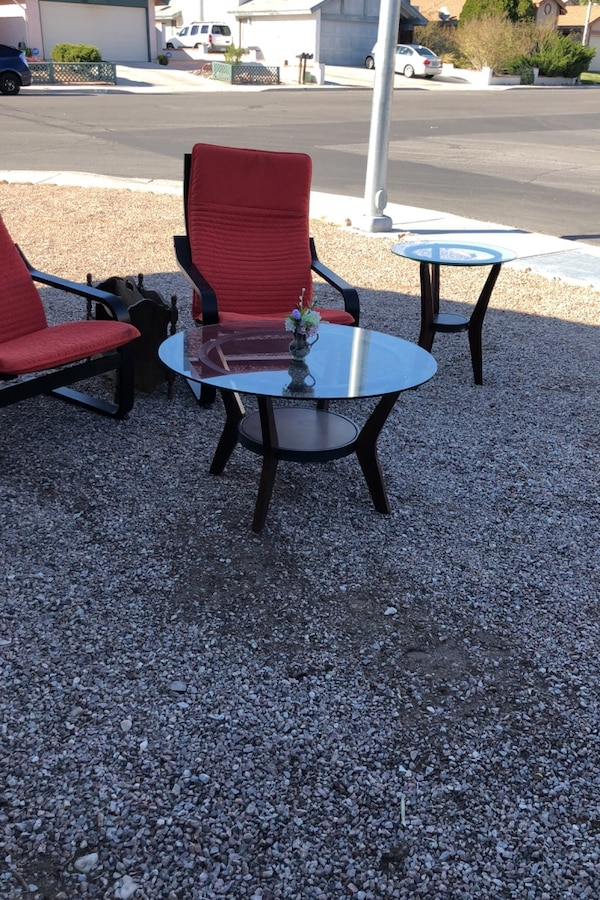 Tables and 2 chairs and antique magazine rack. 51099f15-07d0-4b8e-aea4-74bfff991740