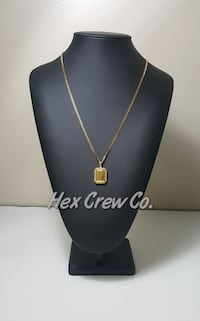 Gold Plated Iced Micro Square + Chain Mississauga, L4Y 4G4