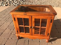 brown wooden framed glass display cabinet Albuquerque, 87123