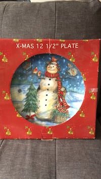 "12 1/2"" Christmas plate snow man printed in box"