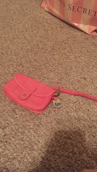 pink leather wristlet