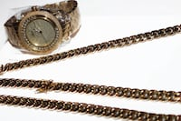 10mm Cuban Miami Link 14k Electroplated Chain + Bracelet + JBW Diamond Watch FULL SET !! WOW! SURREY