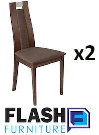 2 FLASH FURNITURE. QUINCY WALNUT FINISH WOOD DINING CHAIRS