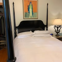 Black Lacquer Four Poster Wood Bed Frame -- Queen  CHICAGO