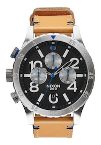 Nixon 48-20 Chrono Leather Natural/Black Watch Oceanside, 92054