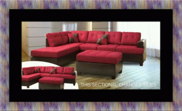 Red sectional with ottoman  54ba8c1b-7a4c-45e5-9475-b454208c0165