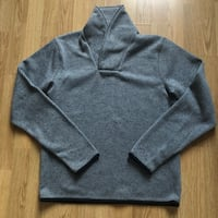 Frank & Oak High V-neck Grey Outerwear Sweater | Sz L Montreal