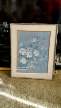 white petaled flower painting with brown wooden frame Toronto, M3H
