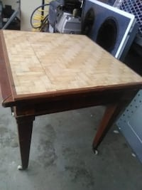 ANTIQUE END TABLE ON WHEELS