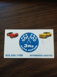 3Rs auto repair business card Houston, 77093