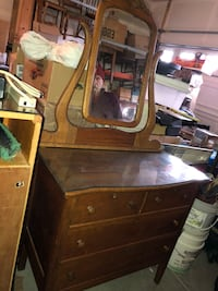 Dresser with mirror and glass top  Algonquin