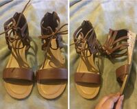 pair of brown leather open-toe sandals Lawrence, 01841