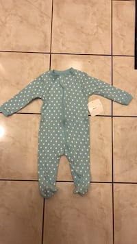 baby's white and blue polka dot footie pajama