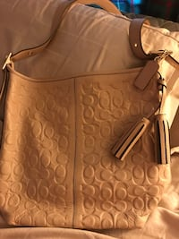 Brown monogrammed coach leather tote bag Marion, 62959