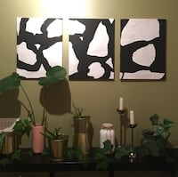 Black and white tryptic painting