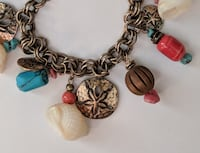 Coldwater Creek Natural Turquoise and Shell Charm Bracelet Beach Summer Seffner