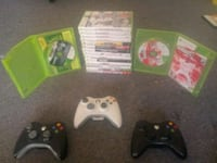 Xbox 360 3 wireless controllers 16 games Reading, 19602