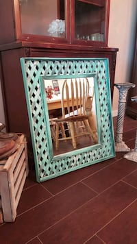 "Shabby chic teal mirror 29""T x 25""W Apple Valley, 92308"