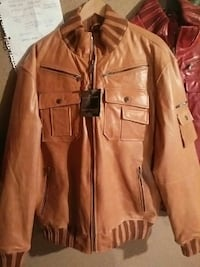 beige leather zip-up jacket Brampton, L7A 2Z4