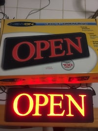 black and red LED open sign with box