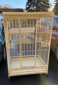 Large parrot cage and accessories