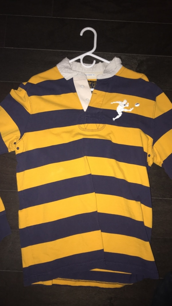 9f6185bbf8 Used blue and yellow striped polo Ralph Lauren rugby very rare shirt for  sale in Cornwall