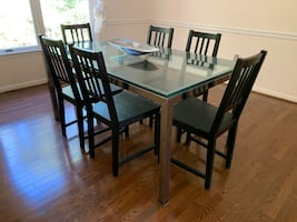 Vintage Modern Thick Glass Top Dining Table
