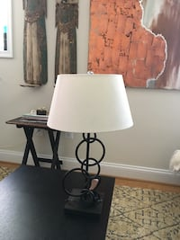 black steel table lamp with white bucket lamp shade