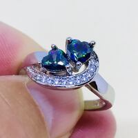 Size 7 -Double Heart Mystic Rainbow Topaz S925 Sterling Silver Ring De Pere