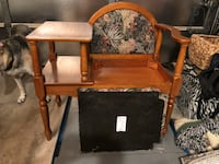 brown wooden framed black padded armchair Oklahoma City, 73170