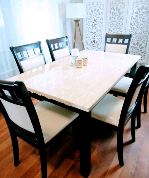 New Marble Top Dining Tables Kitchen Table 6 Chairs
