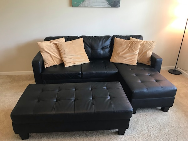 3-Seat L-Shape Tufted Faux Leather Sectional Sofa Couch Set w/Chaise  Lounge, Ottoman Coffee Table Bench - Black.