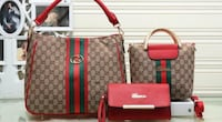 red and white Gucci leather tote bag null