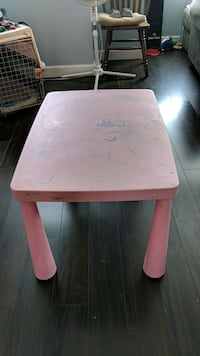 Pink plastic table/2 chairs (1 pink/ 1 blue ) Surrey, V3S