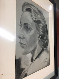 Antique charcoal portrait signed by artist  Whittier, 90602