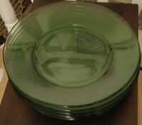 Eight Emerald Clear Glass Dinner Plates Lancaster, 93534