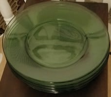 Eight Emerald Clear Glass Dinner Plates