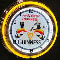 Guinness double neon clock new in box 18 inches across