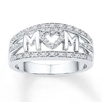 Heart MOM White Gold Plated CZ Ring Fort Smith