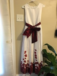 white and red floral sleeveless dress 纽顿, 50208