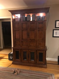 brown wooden cabinet with hutch Winchester, 01890