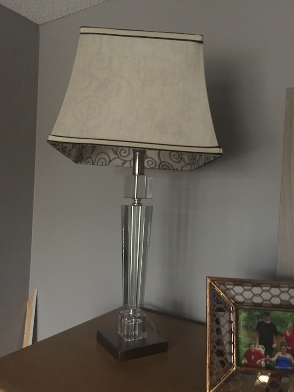 stainless steel base white shade table lamp b59802c5-3ad3-4a72-8124-c545c6c98da1
