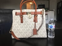 women's white and brown Michael Kors leather handbag Red Deer
