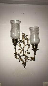 Solid Brass wall sconce from India with glass hurricane lamps Stafford, 22554