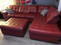 Red Leather Sectional Couch Port Coquitlam, V3B 0M7