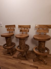 Rustic log bar stool